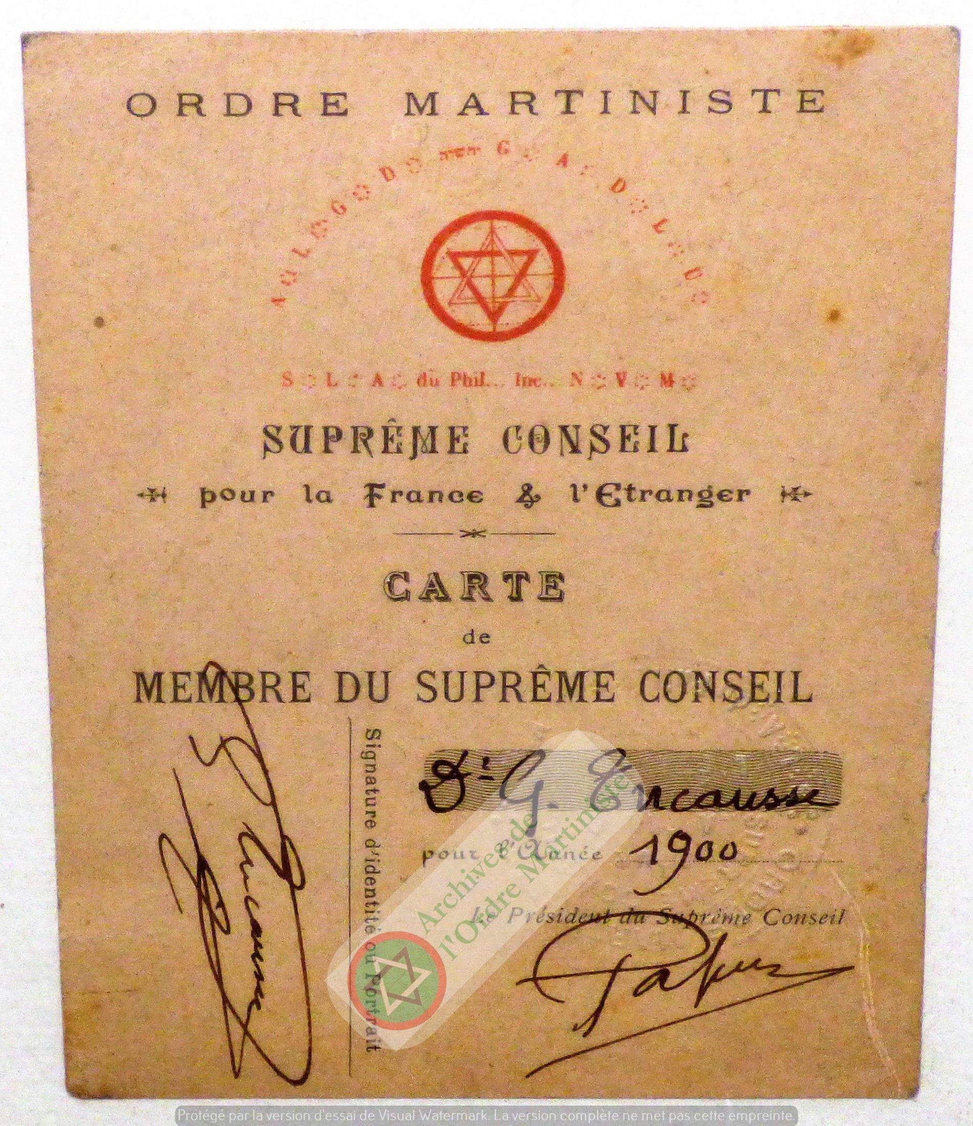 Carte Membre Papus